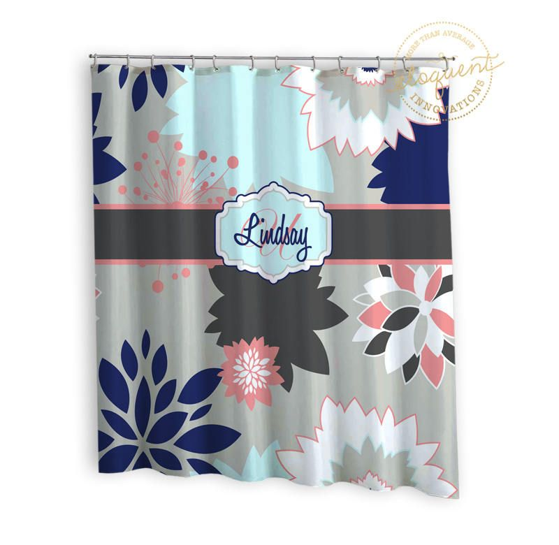Floral Fabric Shower Curtains - Grey, Navy, Coral - Floral Shower ...