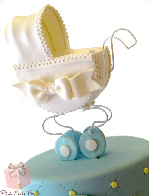 Baby Carriage Shower Cake » Custom Baby Shower Cakes | Baby carriage on