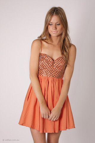 journey cocktail- rust orange with sequin bodice