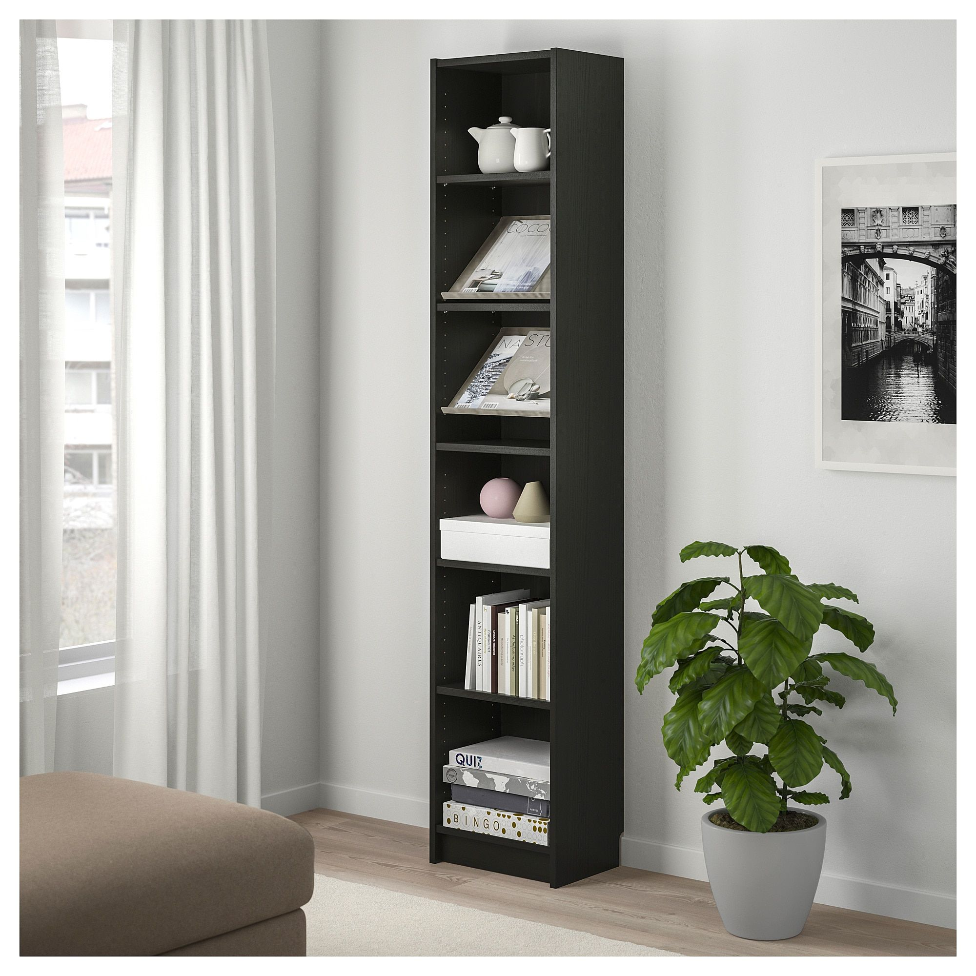 Billy Bottna Bookcase With Display Shelf Black Brown Beige Ikea Display Shelves Shelves Bookcase