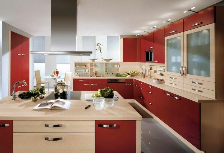 cocina color rojo madera clara cocina roja Pinterest