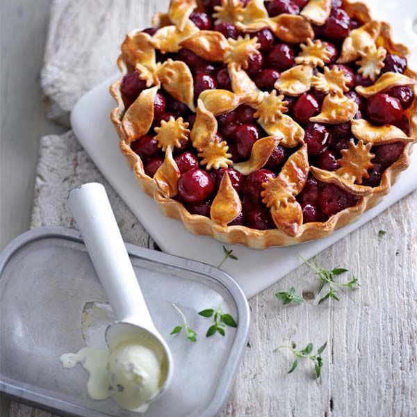 This cherry pie made with cream cheese pastry is served with a homemade fresh lemon thyme ice cream.