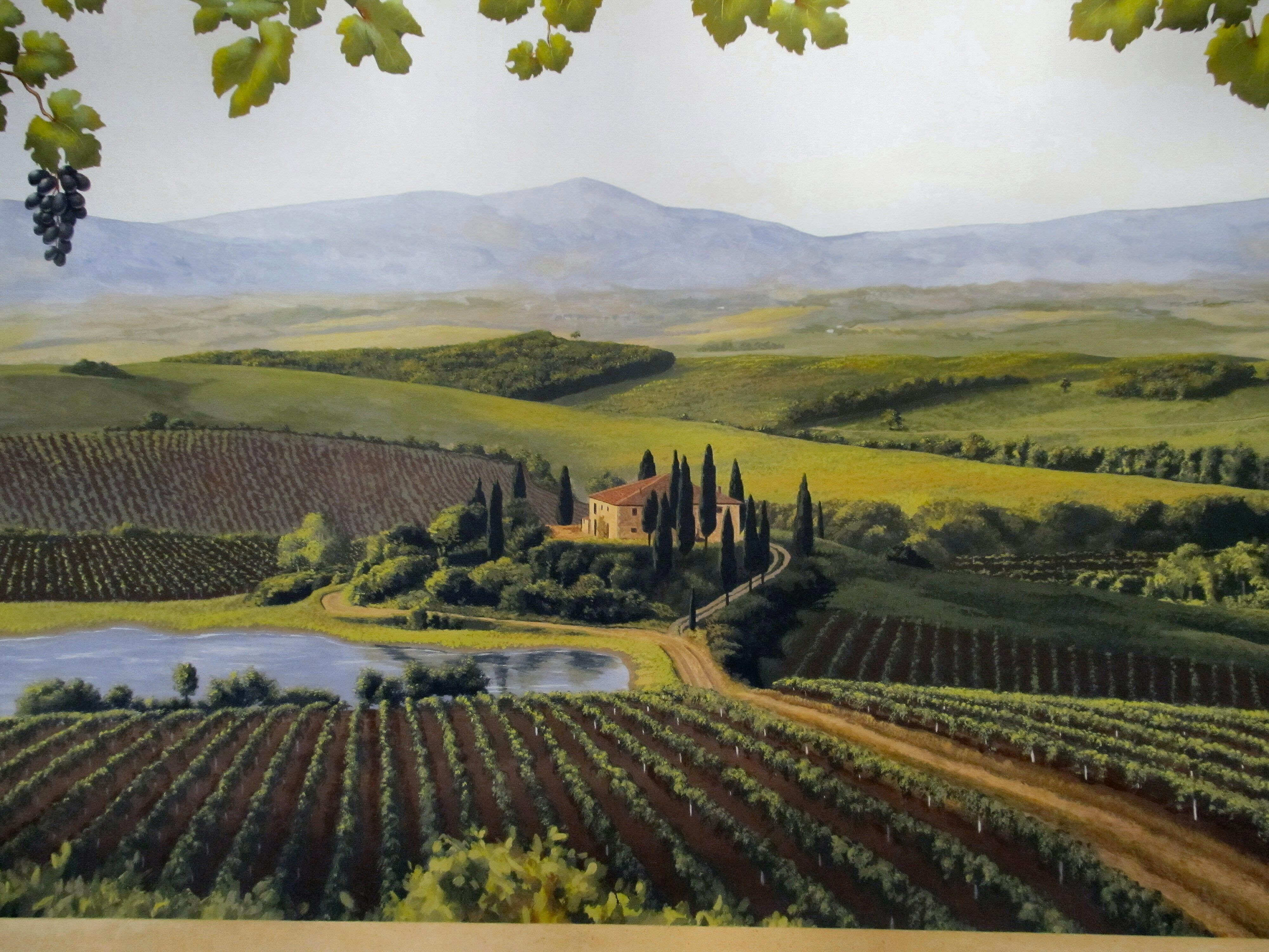 Tuscany mural by Jeff Raum Landscape paintings, Murals