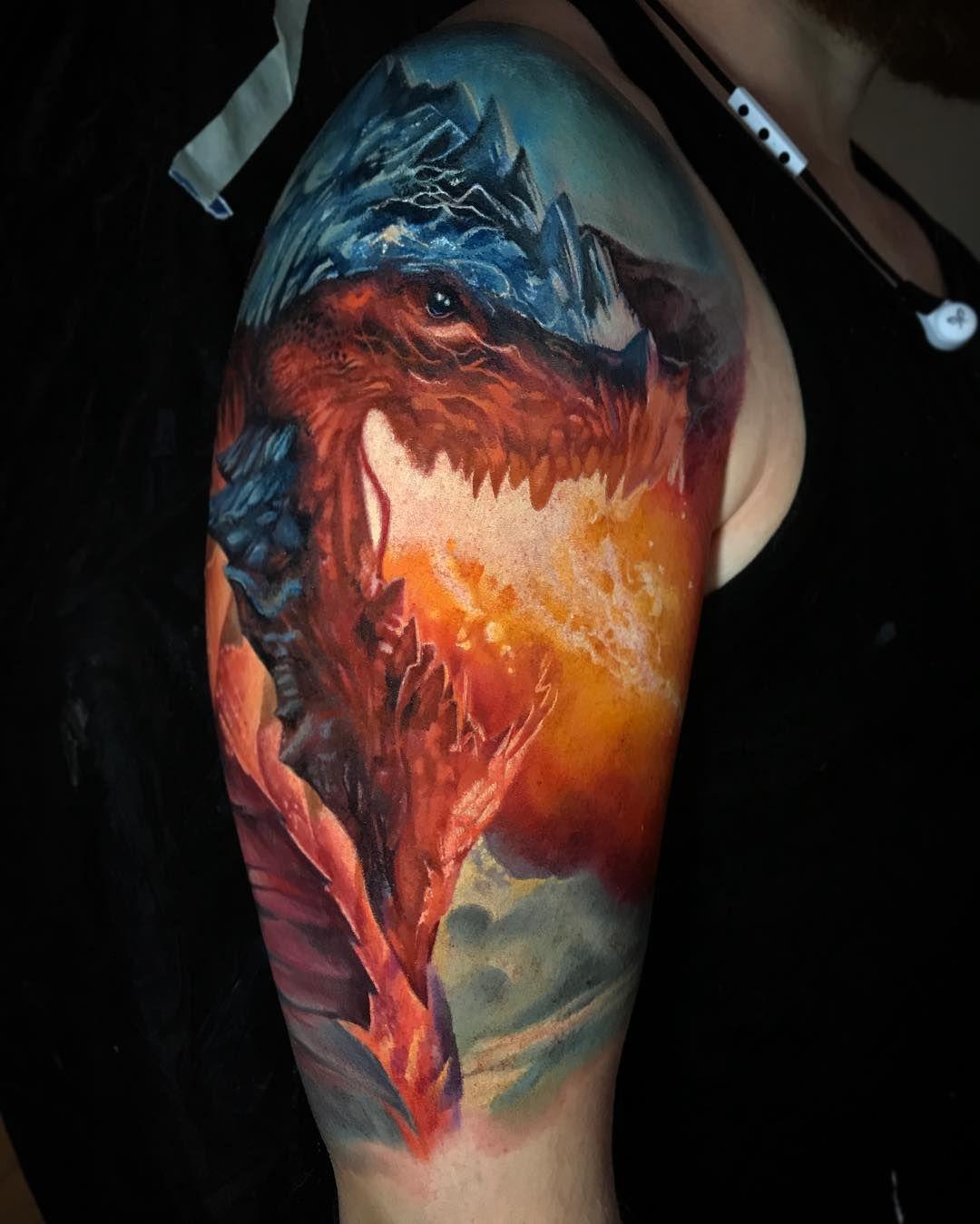 Dragon By Boris Tattoo Dragon Head Tattoo Head Tattoos Epic Tattoo