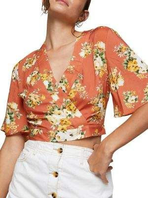 2a04cb83115877 Miss Selfridge Floral Angel Sleeve Top | Products | Tops, Floral ...