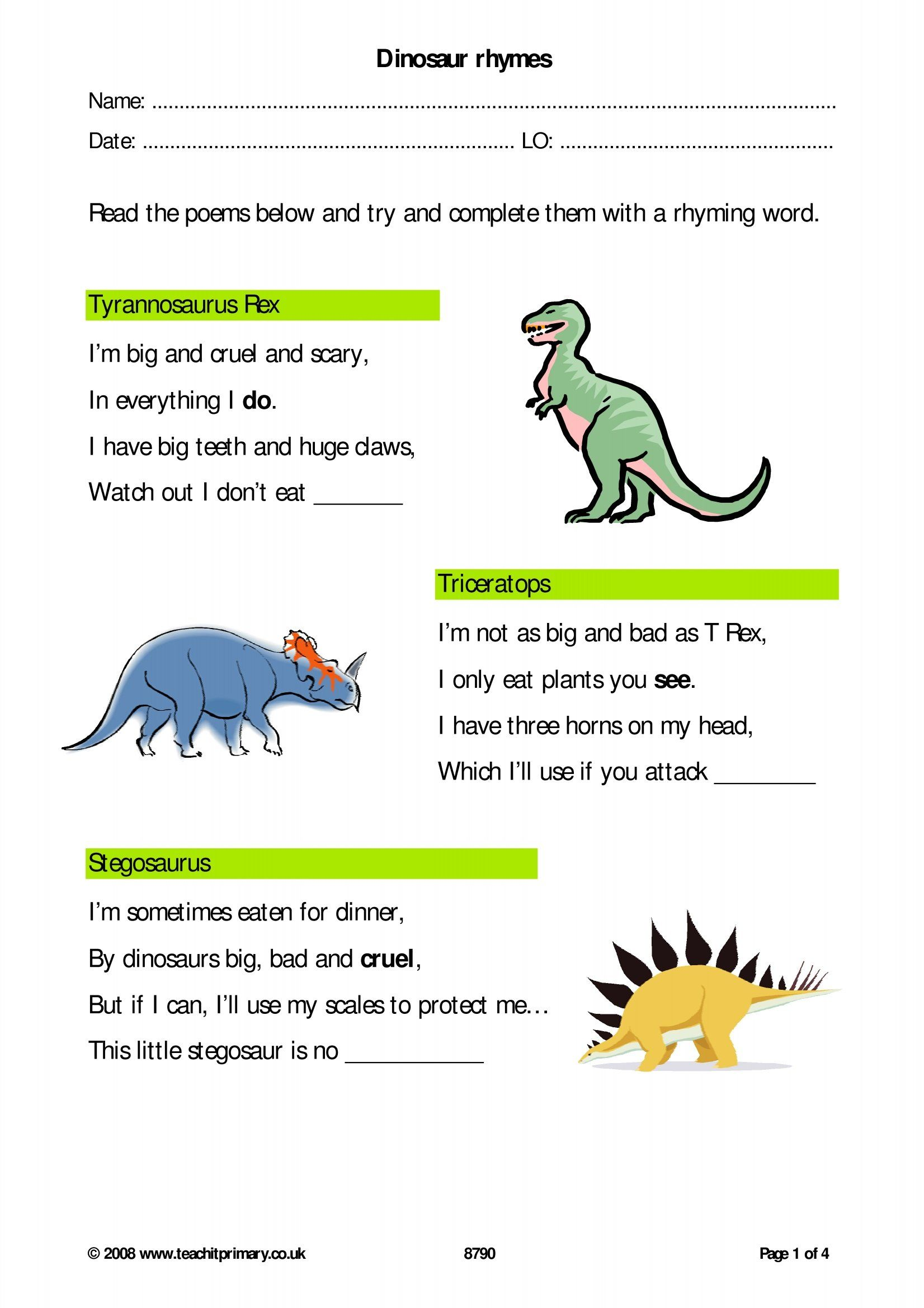 hight resolution of 3rd Grade Tyrannosaurus Rex Worksheet   Printable Worksheets and Activities  for Teachers