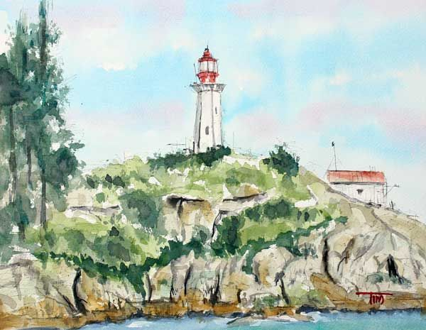 A Watercolor Painting by Tim Ross Title:  Port Atkinson Lighthouse www.timross.com