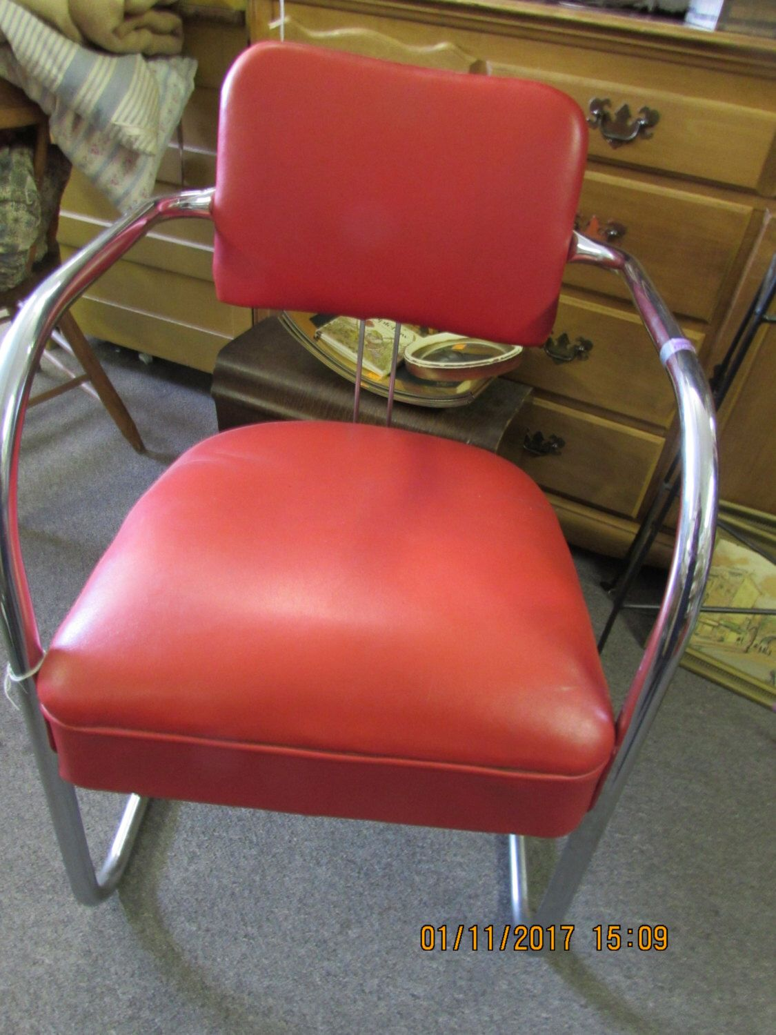 Vintage Mid Century Modern Red Naugahyde Royal Chrome Chair