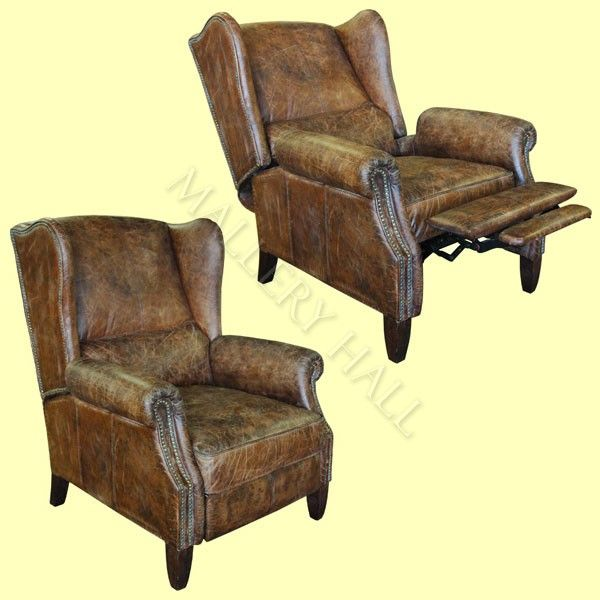 Groovy Details About Distressed Vintage Leather Reclining Wing Download Free Architecture Designs Estepponolmadebymaigaardcom