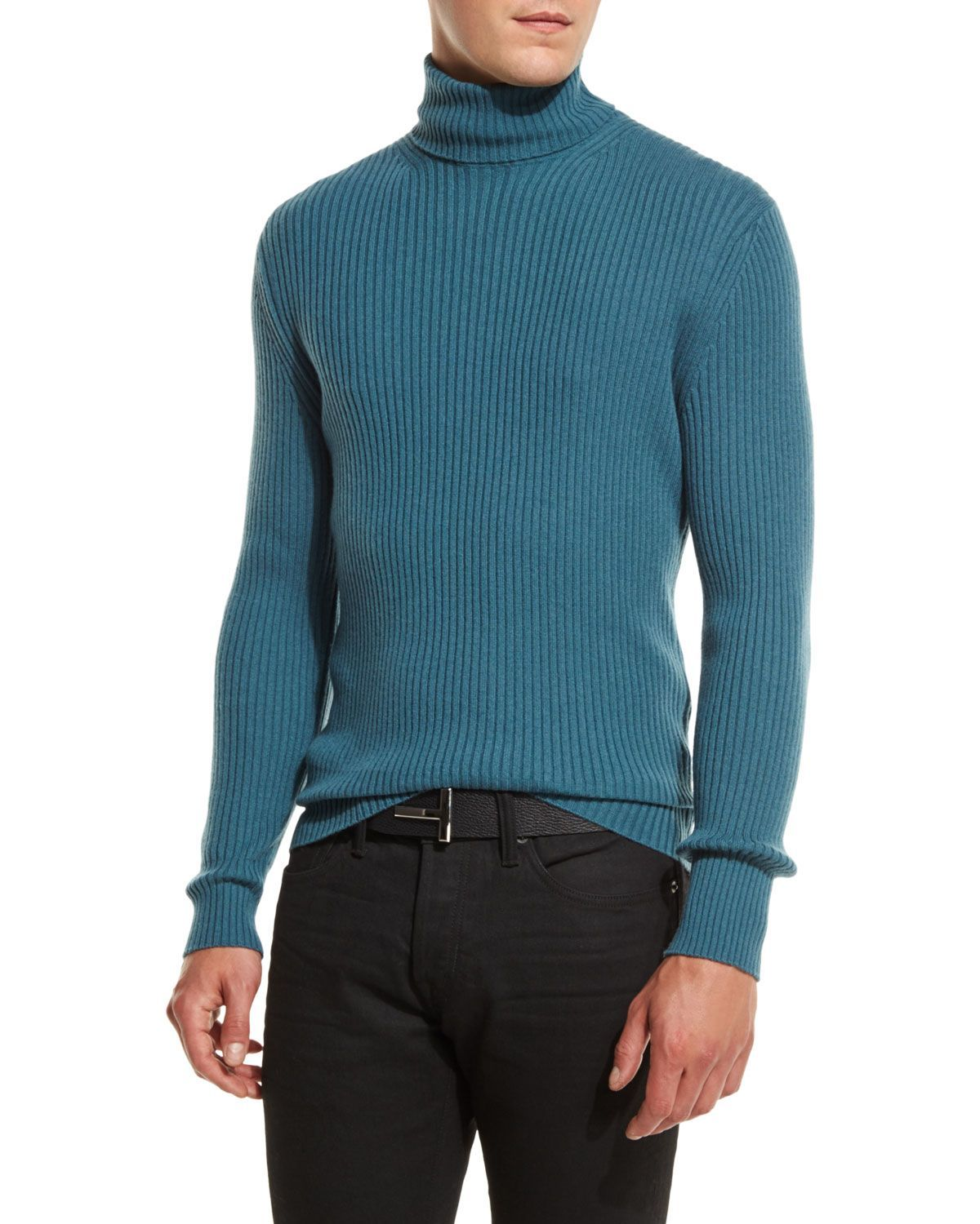 Tom Ford sweater in 12 gauge ribbed knit. Turtle neckline