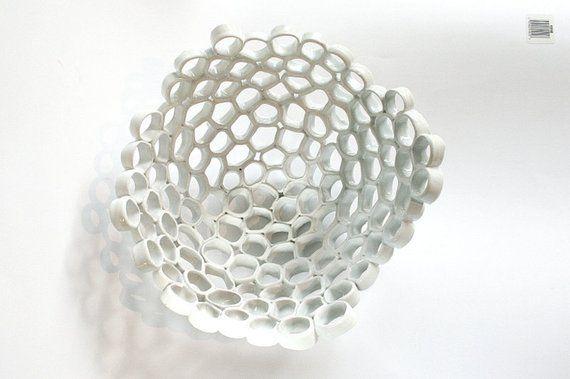 White ceramic fruit bowl contemporary design Particle ...
