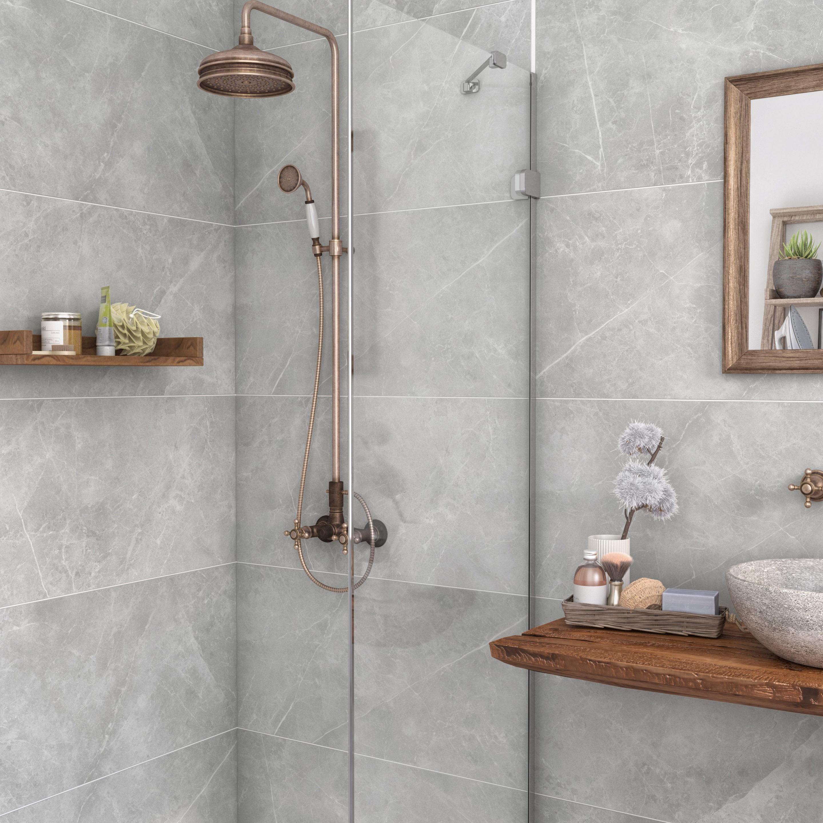 Étonnant Carrelage mur et sol marbre gris mat l.90 x L.3 cm, Rialto ML-31