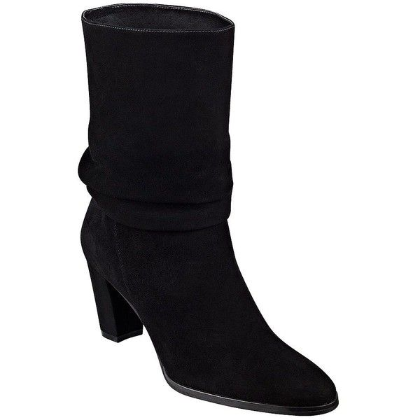 Ivanka Trump Jalli Suede Scrunch Ankle Boots ($179) ❤ liked on Polyvore featuring shoes, boots, ankle booties, black, suede slouch boots, suede boots, black suede booties, black suede ankle booties and black ankle booties
