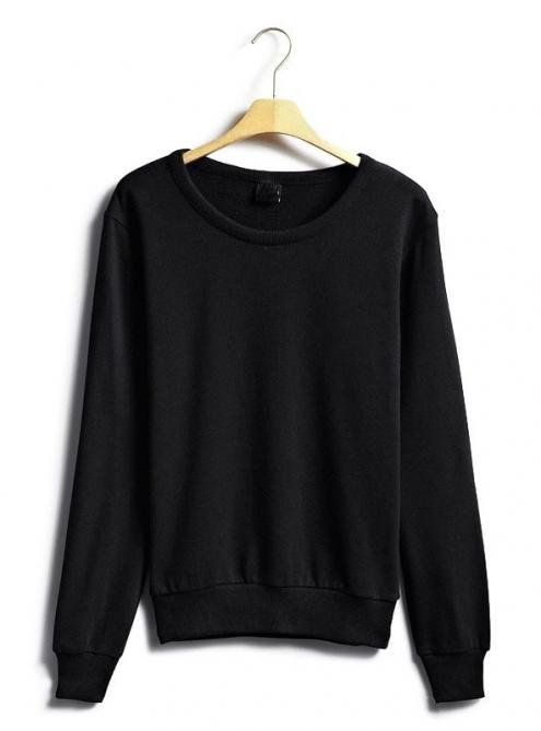 Black Classic Plain Collar Sleeve Sweatshirt$43.00