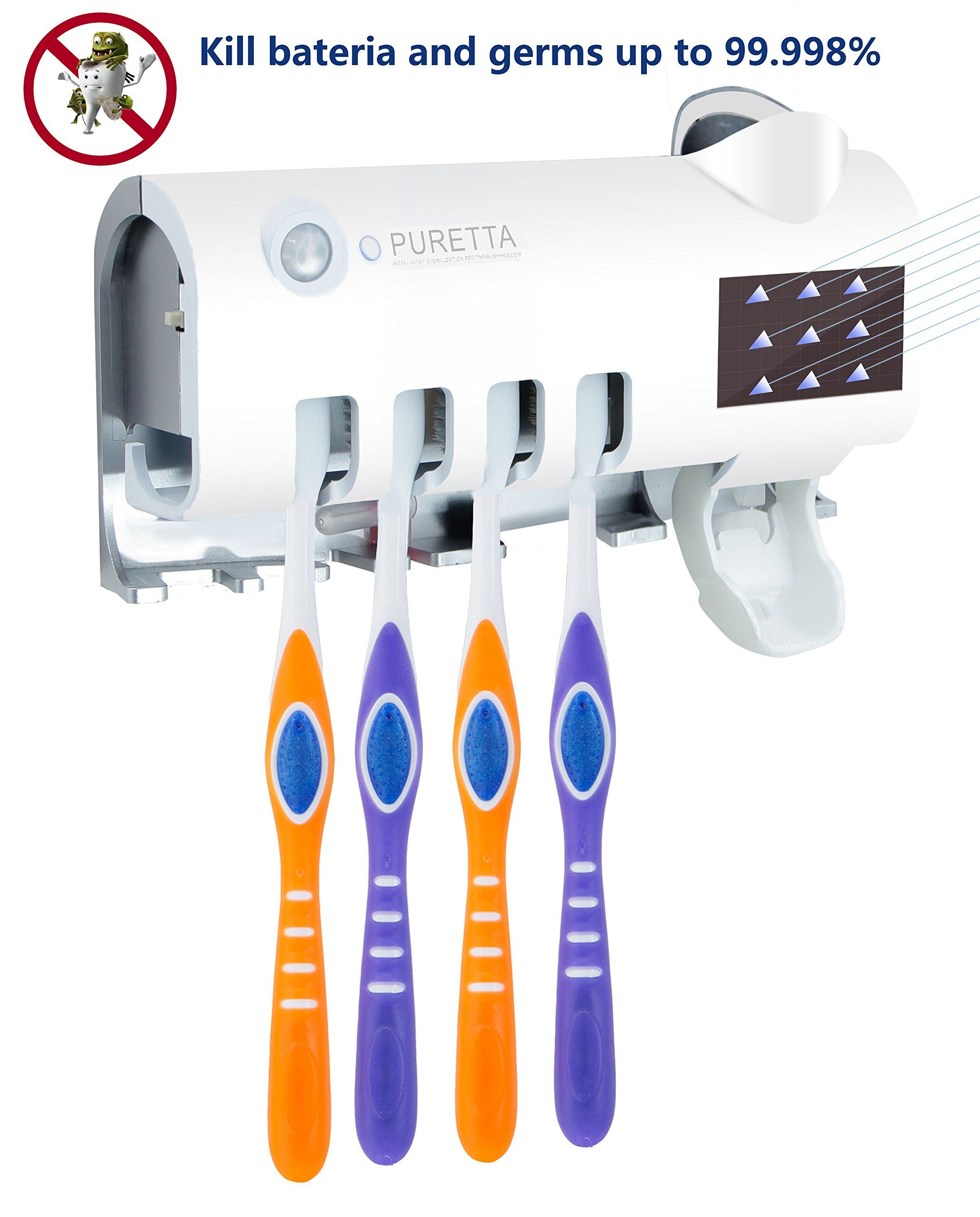 UV Toothbrush Sterilizer Sanitizer Toothbrush Holder Toothpaste Dispenser Wall  Mounted IR Induction with 4 Wash Rack b0c6e83c0d