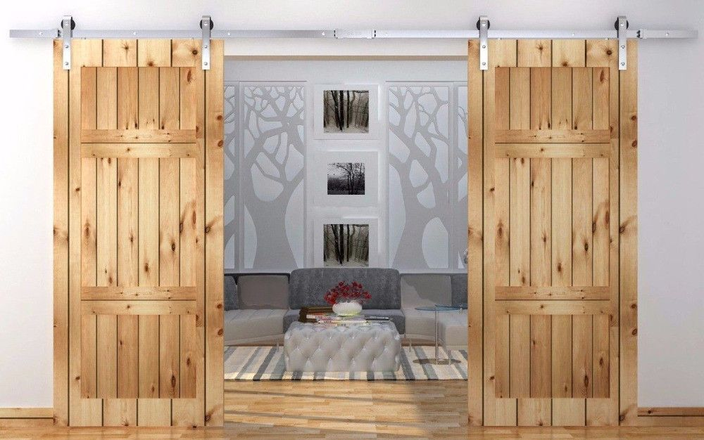 12ft Antique Country Style Stainless Steel Sliding Barn Door Double Barn Door Sliding Track K Barn Style Interior Doors Sliding Door Hardware Double Barn Doors