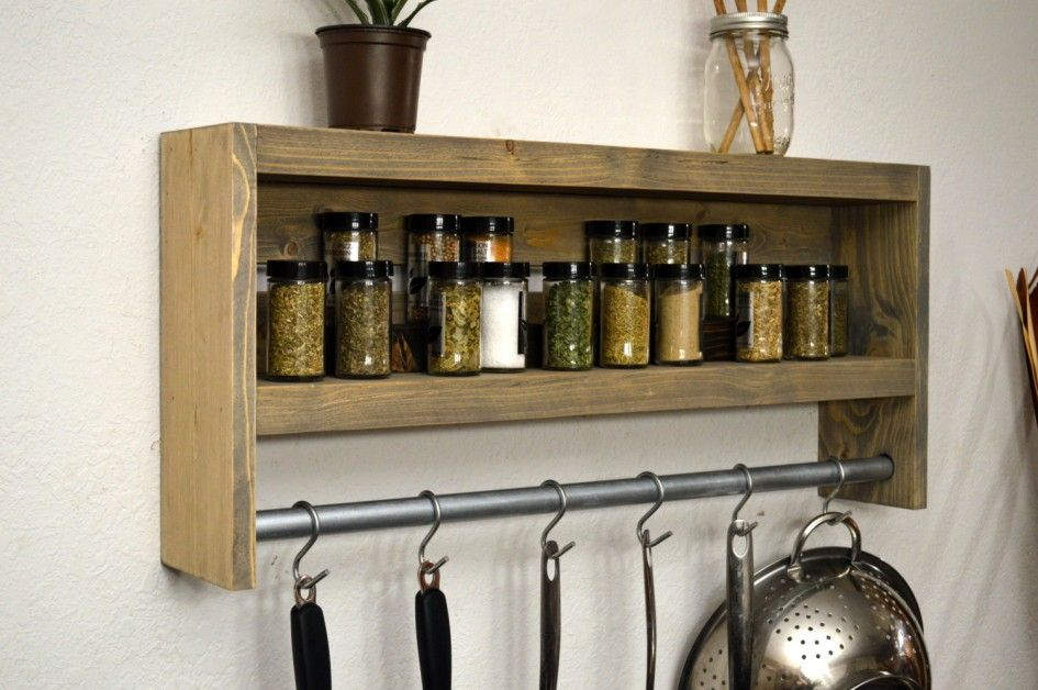 kitchen rustic wooden spice rack spice rack ikea shelf pot rack metal hooks natural color kitchen - Kitchen Pot Rack Ideas