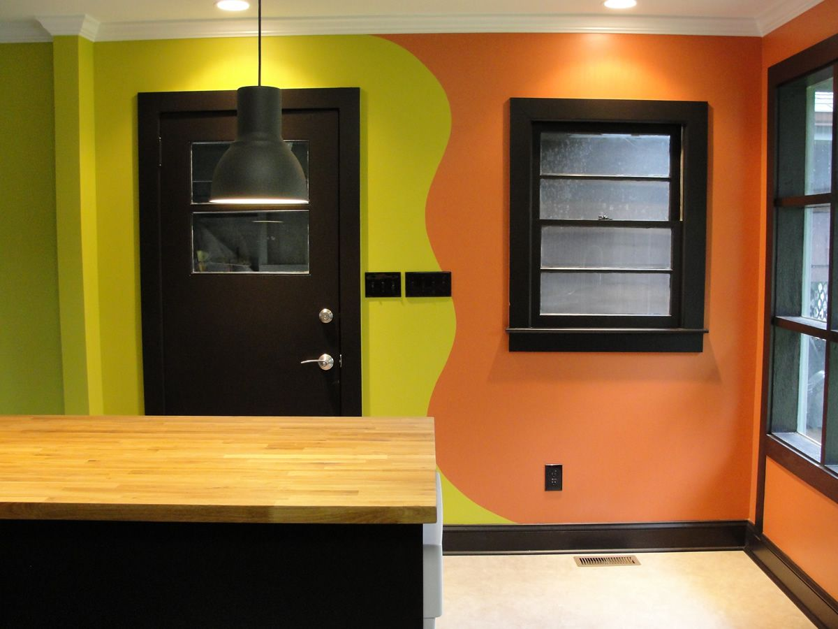 how we decided to connect the two colors  kitchen and one wall of the  living room   I ve done this wave thing in 3 different houses now  with  different. how we decided to connect the two colors  kitchen and one wall of