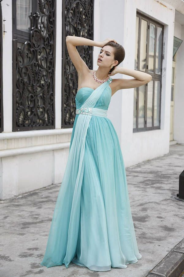 Empire Roman Style One Shoulder Prom Dress in 2020