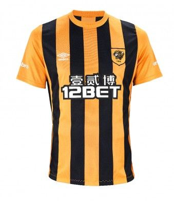 fe884be936 Hull City Association FC 201/15 Home Kit - Black and yellow vertical stripes  with yellow sleeves and yellow collar hem. Umbro - Kit manufacturer's name  in ...