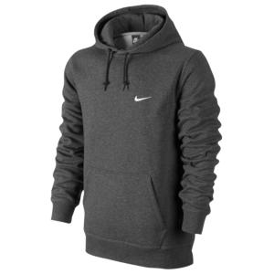 Nike Club Swoosh PO Hoodie - Men's - Charcoal Heather/White