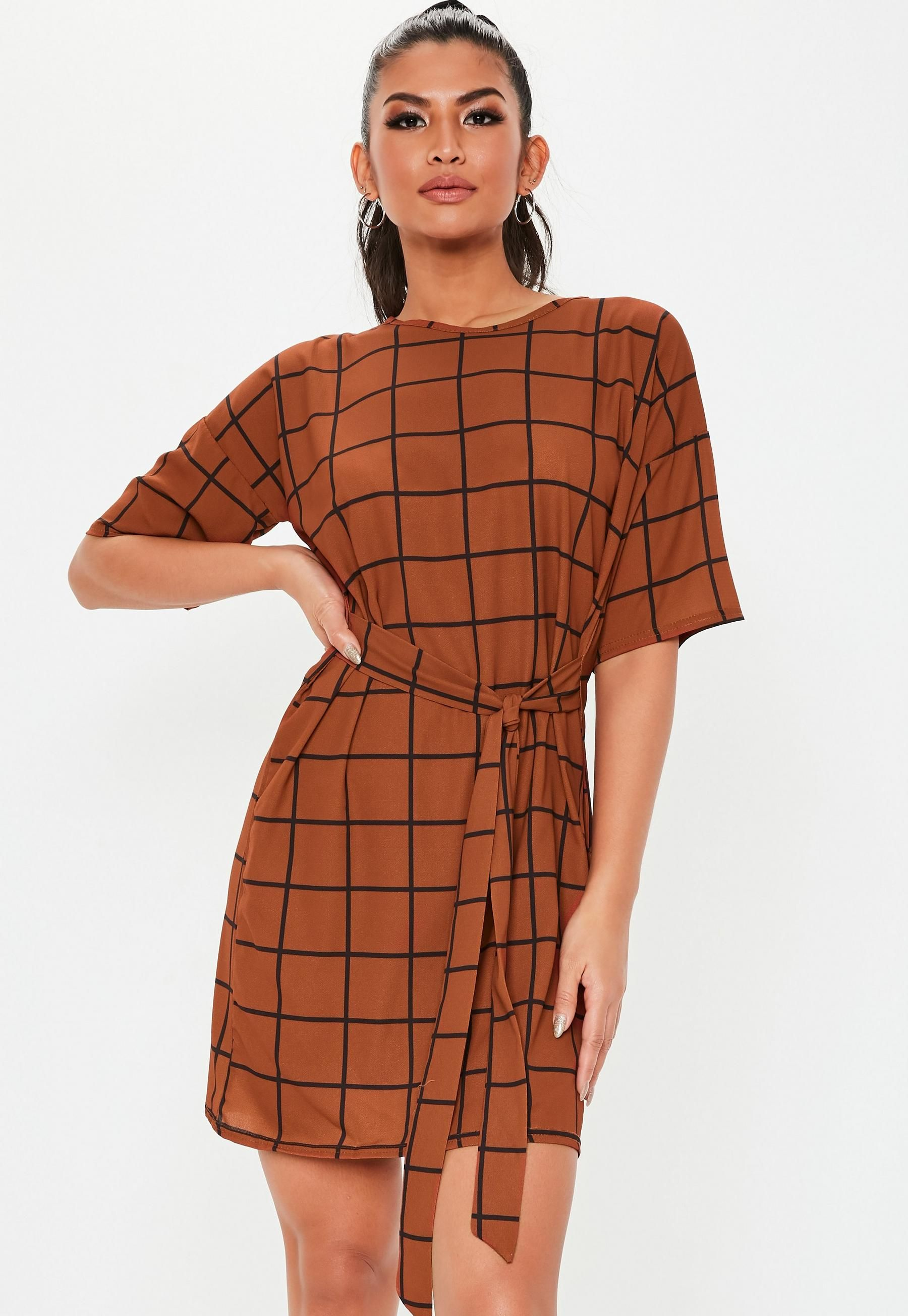 58f22193de Missguided Rust Grid Plaid Tie Waist Shirt Dress in 2019