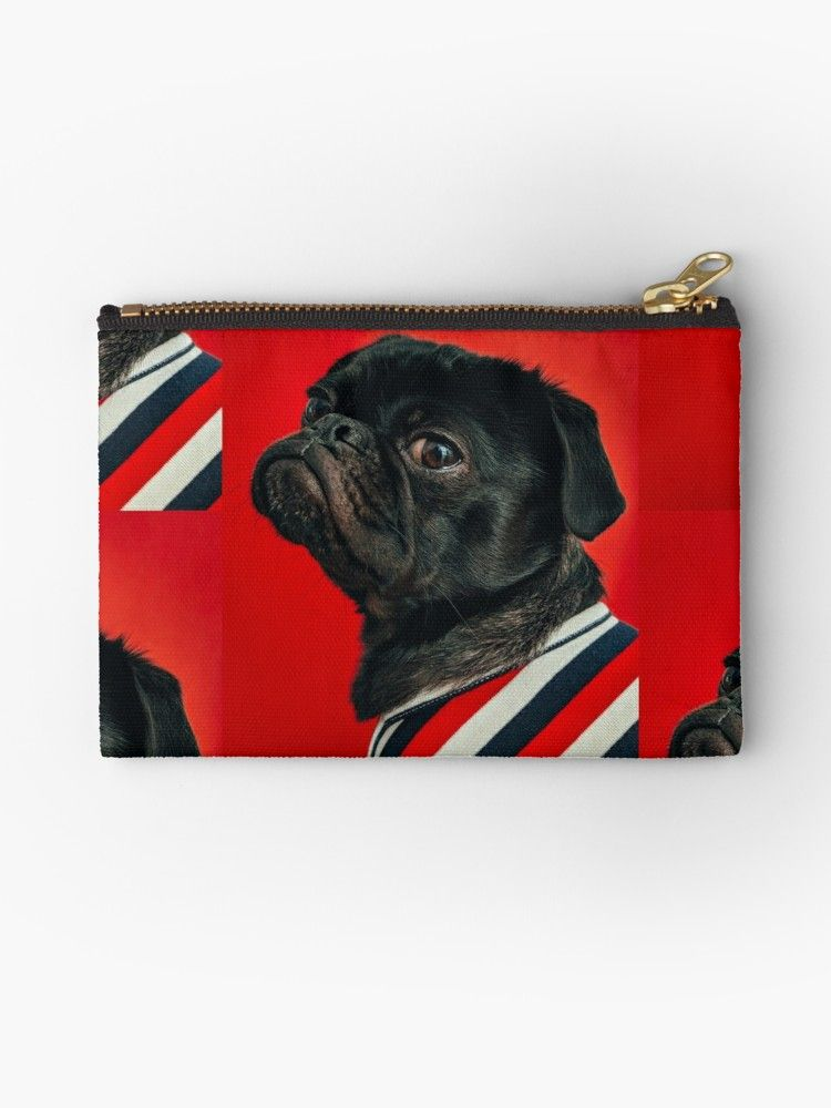 Toshi Black Pug Dog Zipper Pouch By Broken Concrete English Toy