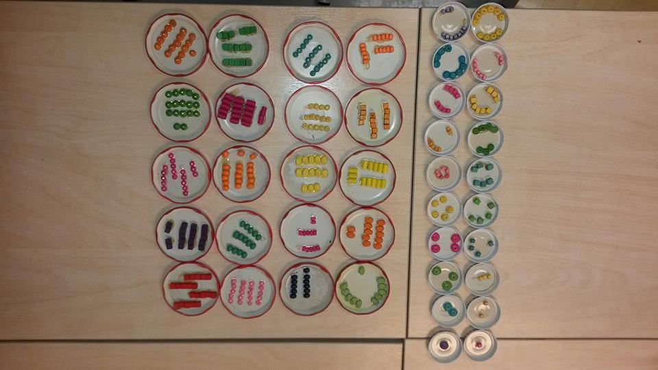 """Kuumalimalla, helmillä ja purkinkansilla saa aikaan kivat numerokortit. Kahteen kertaan luvut 1-20. Muistipeliksi ja kaikenmoiseen lukumäärien hahmottamiseen ja laskemiseen. Nyt isoissa on käytetty """"viiden voimaa"""" ja kaikki kympit on 5+5, mutta tarkotus on tehdä lisää, esim. Tuplat jne. (Näppituntuma - alkuopetuksen matematiikkaa toiminnallisesti / Heidi Puisto)"""