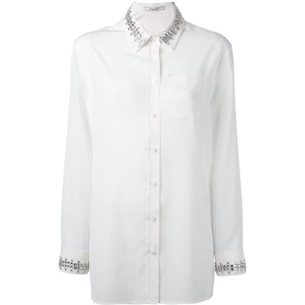 Givenchy crystal trim, shirt (6.335 BRL) ❤ liked on Polyvore featuring tops, white, white top, loose shirt, loose tops, givenchy shirt and loose fitting tops