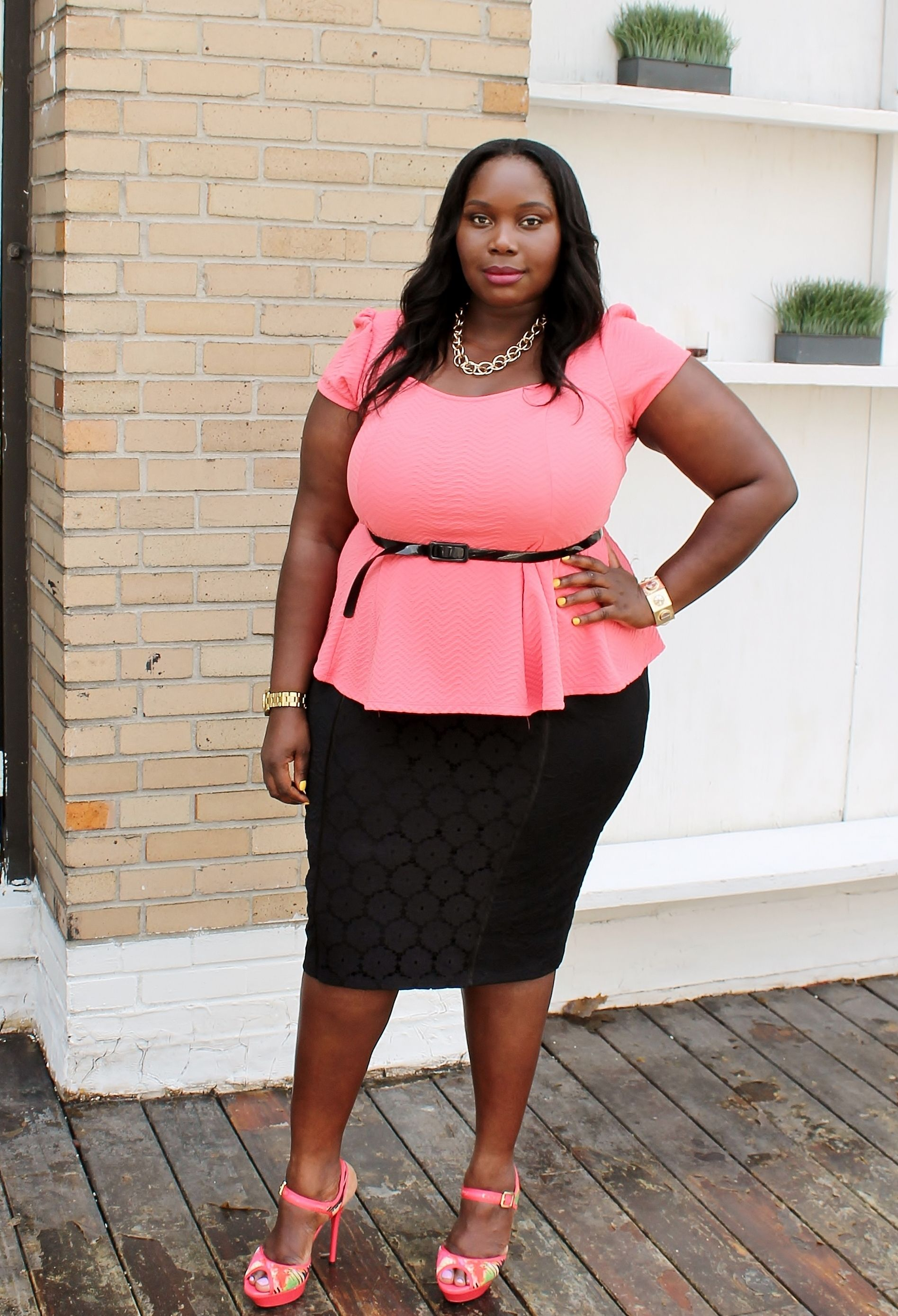 Coral Peplum top. Black lace pencil skirt.   Personal Style ...