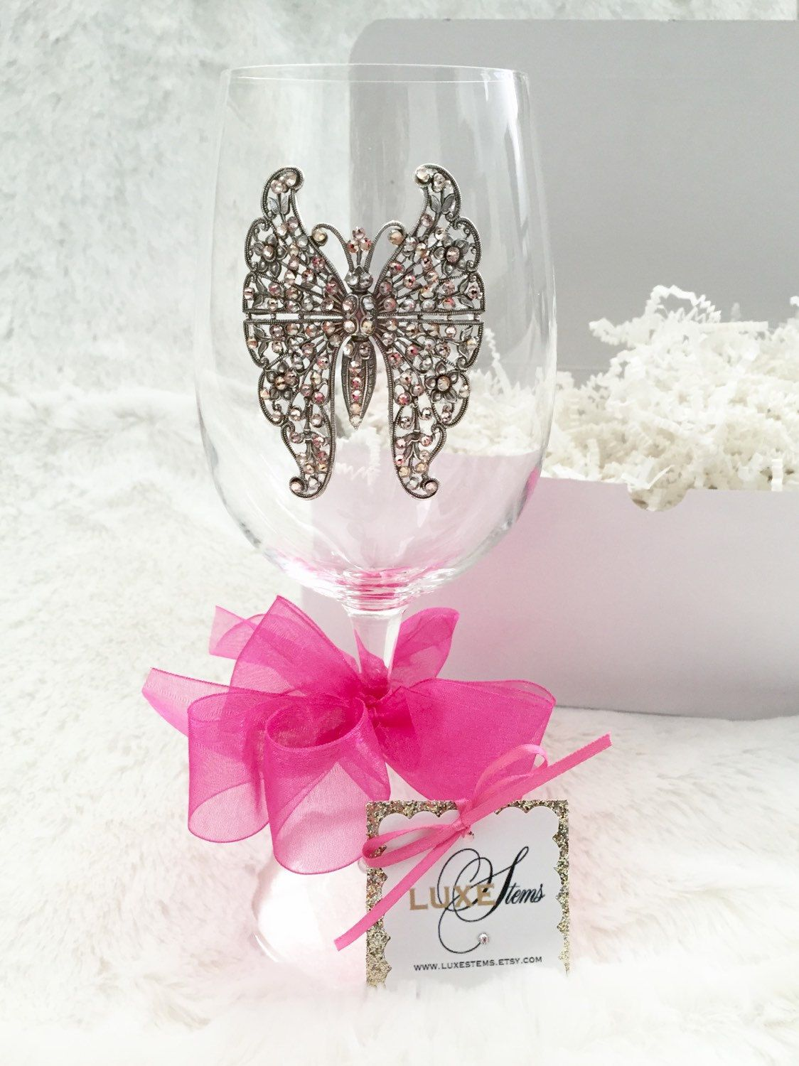 Butterfly...Adorned Crystal Wine Glass With An Exquisite Filigree ...