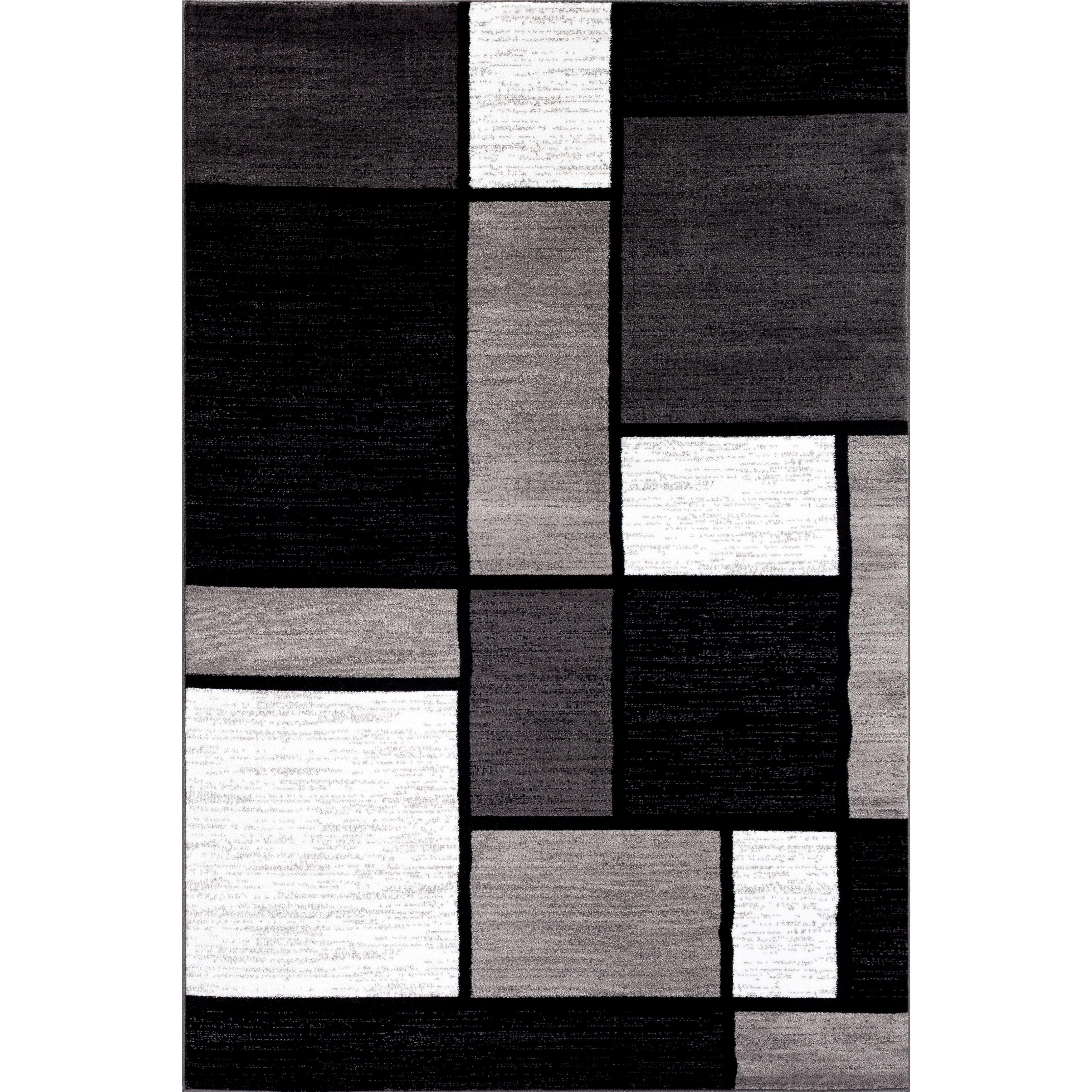 Contemporary Modern Boxes Grey Area Rug 7 10 X 10 2 8 X 10