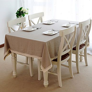 Linen Table Cloth with Lace - AUD $ 30.32