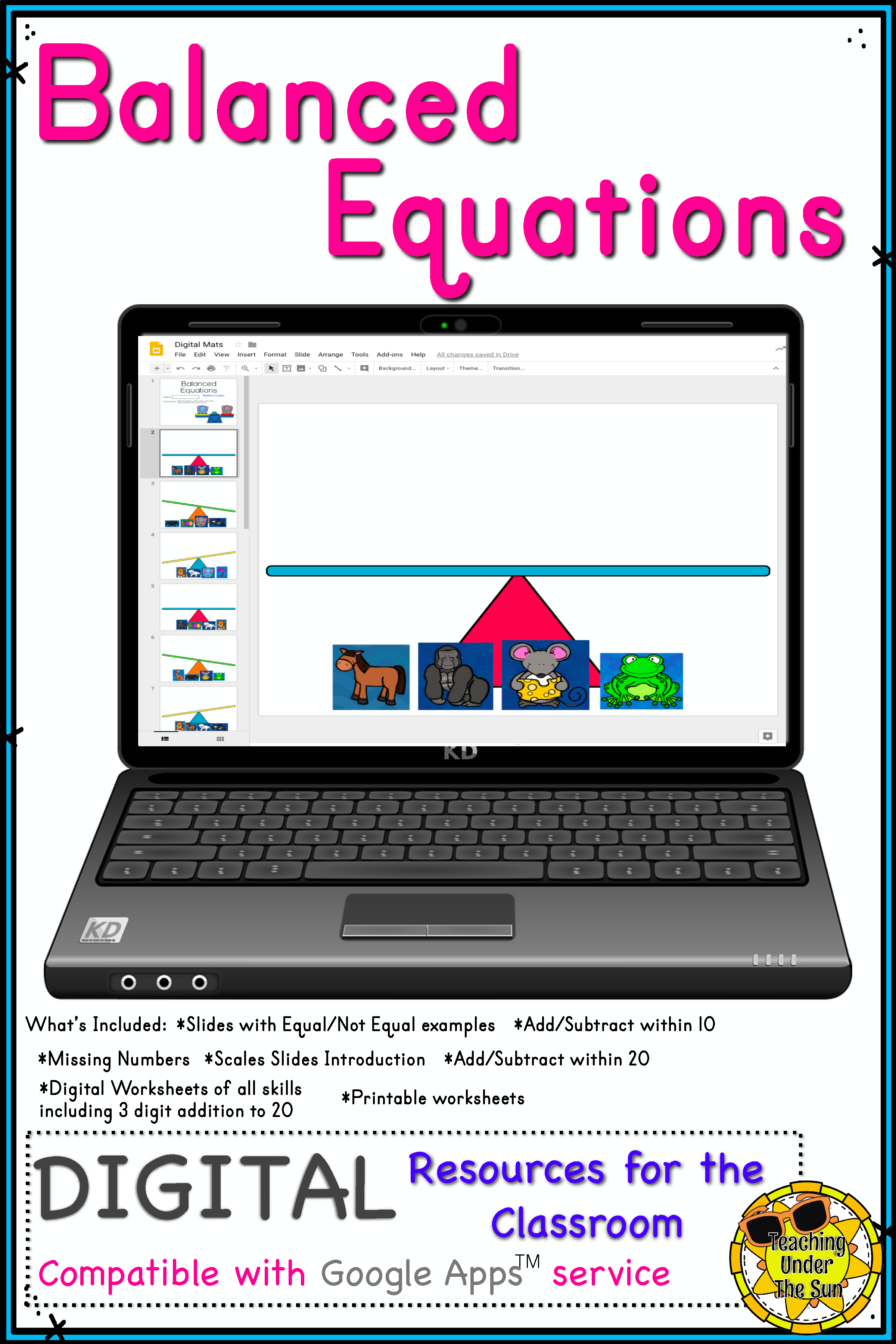 Balancing Equations Digital Activity No Prep Math