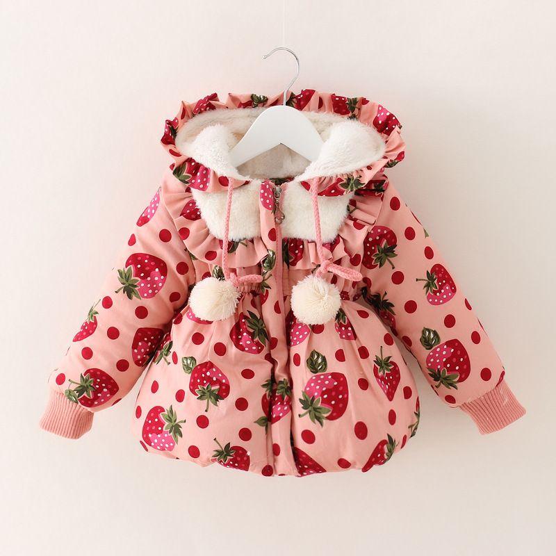 2016 Fashion Autumn Winter Baby Girls Coat Strawberry Kids Winter