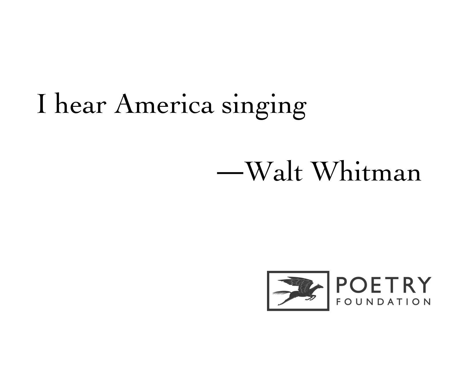 I Hear America Singing By Walt Whitman