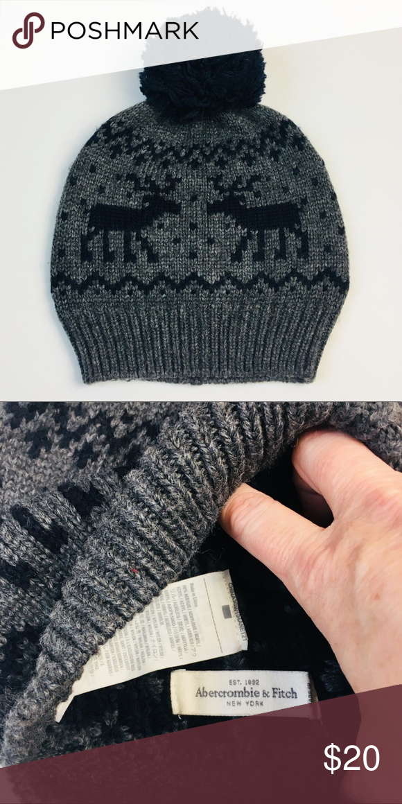 821ed82b361 NWOT Abercrombie Winter Reindeer Pom Beanie Hat New without tags. Black and  gray. Reindeer design. So cute!! Abercrombie   Fitch Accessories Hats
