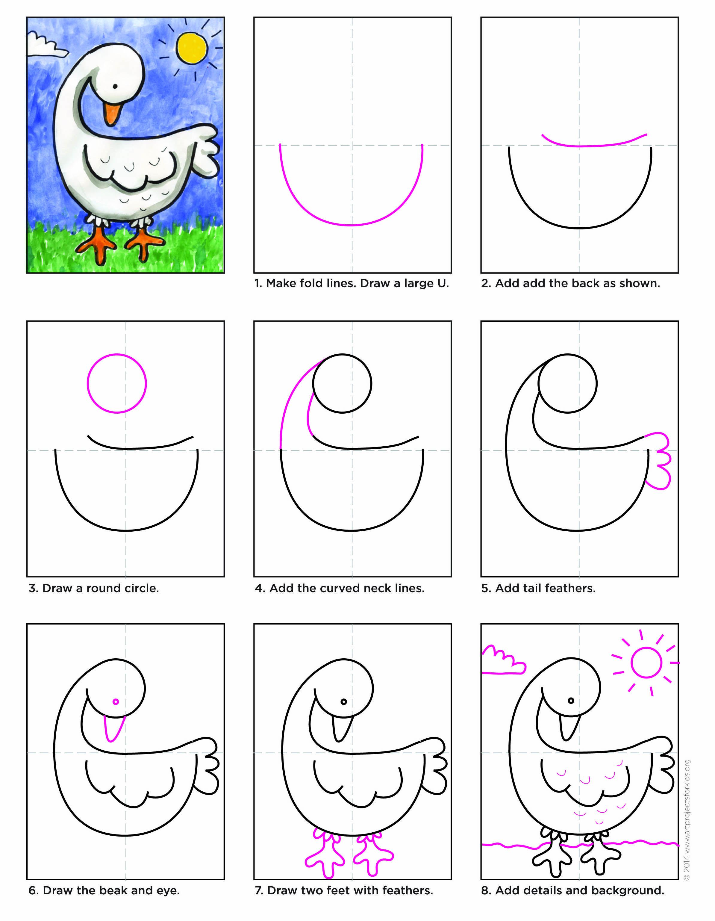 Draw a Goose   APFK Tutorials   Drawings, Art drawings for