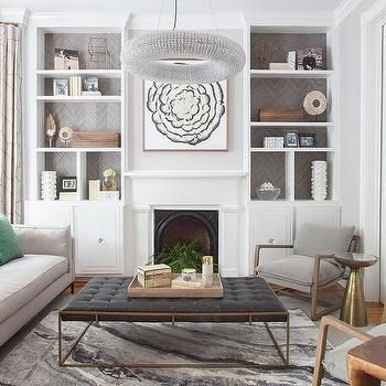 Beautiful Gray Toned Living Room With White Built Ins And A Crystal Right Chandelier L Living Room Decor Fireplace Cozy Living Room Furniture Interior Design