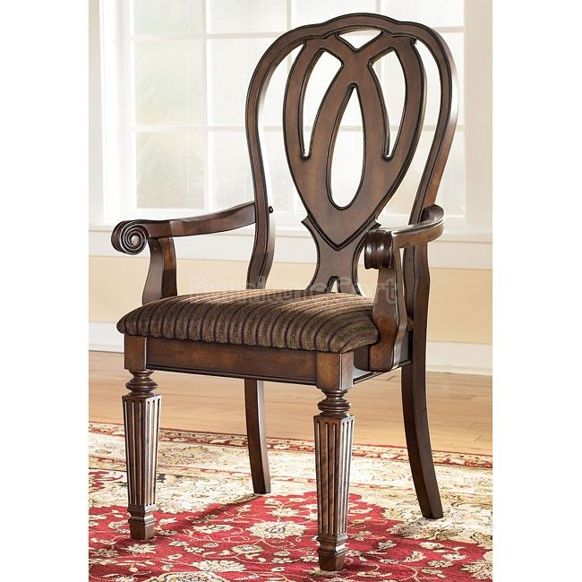 Hamlyn Arm Chair (Set of 2) | Arms, Chenille fabric and Brown finish