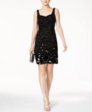 Adrianna Papell Beaded Sequined Cocktail Dress  - Black 16M