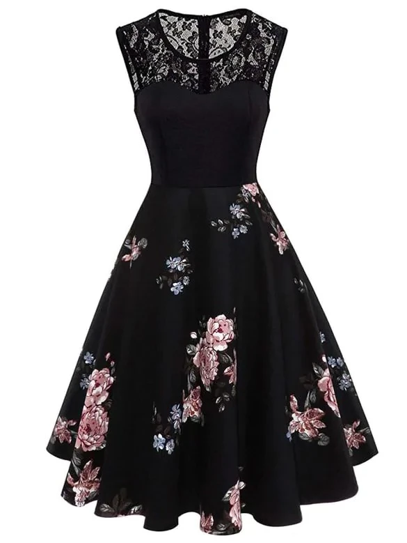 Plus Contrast Lace Floral Print Dress #jurken