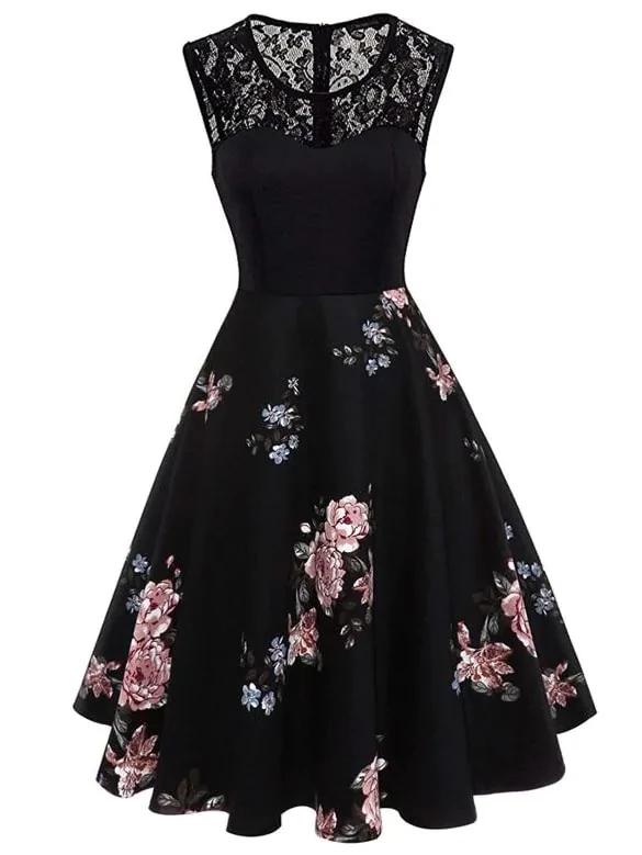 Plus Contrast Lace Floral Print Dress #jurken