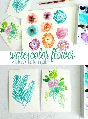 Watercolor Flower Videos In 2019 Watercolor Flowers Tutorial