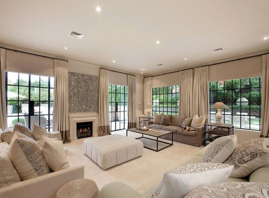 beige colours open plan living room with carpet