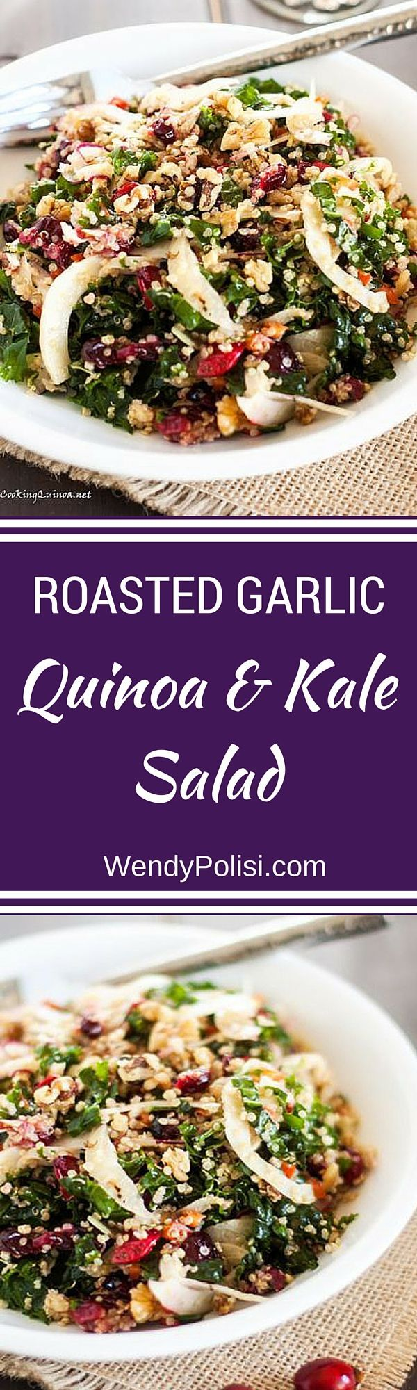 Roasted Garlic Quinoa & Kale Salad