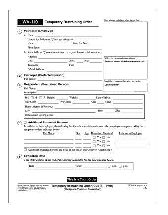 Restraining Order Template Printable