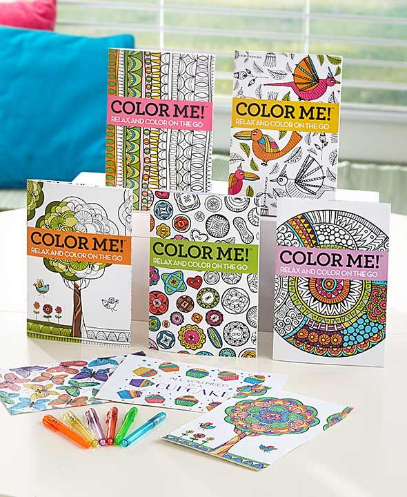 Set Of 5 Coloring Books With Pens Coloring Books Book Crafts Colored Pens