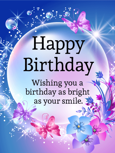 Send Free Shining Bubble Happy Birthday Card To Loved Ones On
