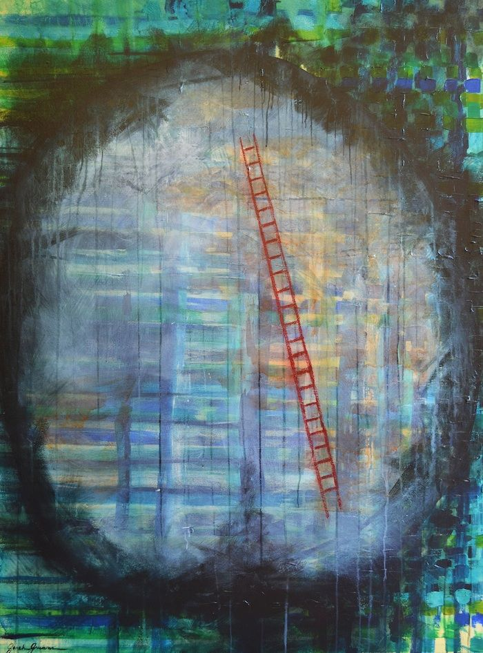 """Synaptic Pruning (Neuroplasticity Series) -  36"""" x 42"""" acrylic and oil pastel on canvas - Sarah Greenman"""